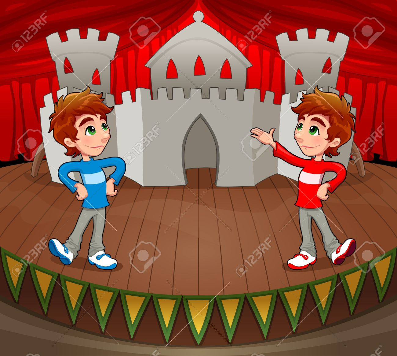 Twins are acting on the stage. Stock Vector - 15829807