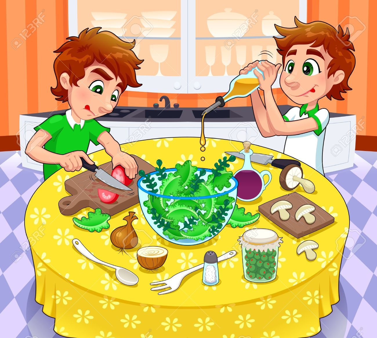 Twins are preparing a green salad. Stock Vector - 15829811