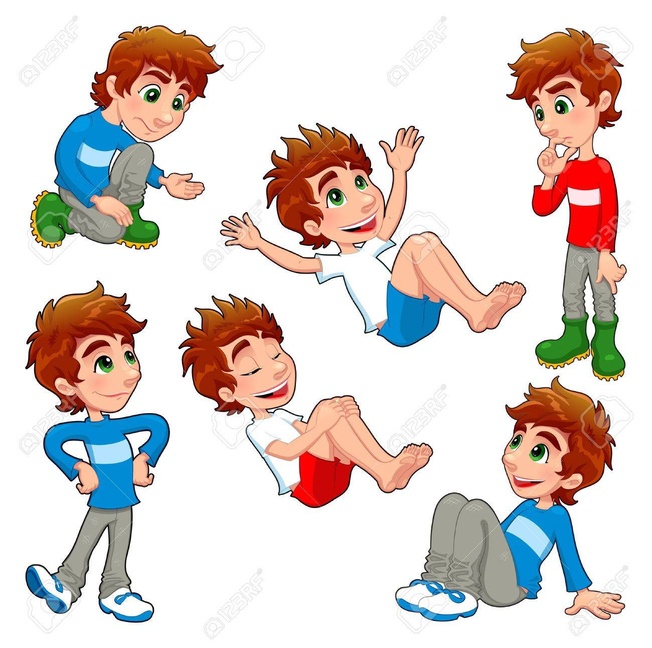 Boy in different poses and expressions.  Vector isolated characters. Stock Vector - 16034559