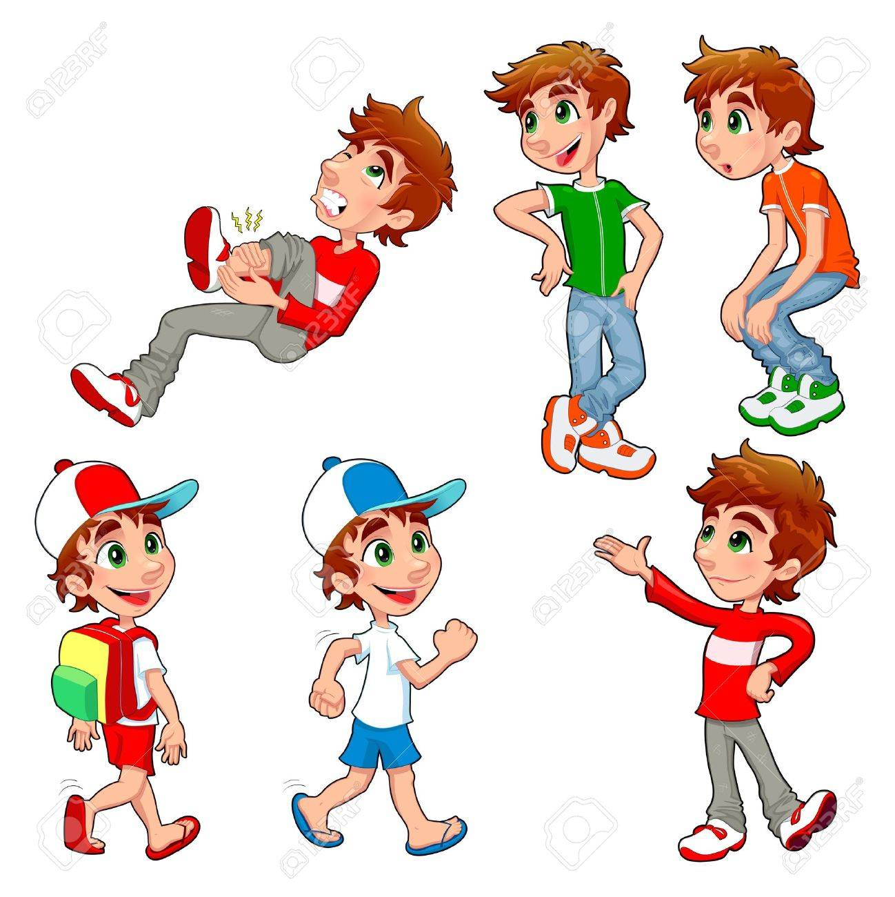 Boy in different poses and expressions.  Vector isolated characters. Stock Vector - 16034560