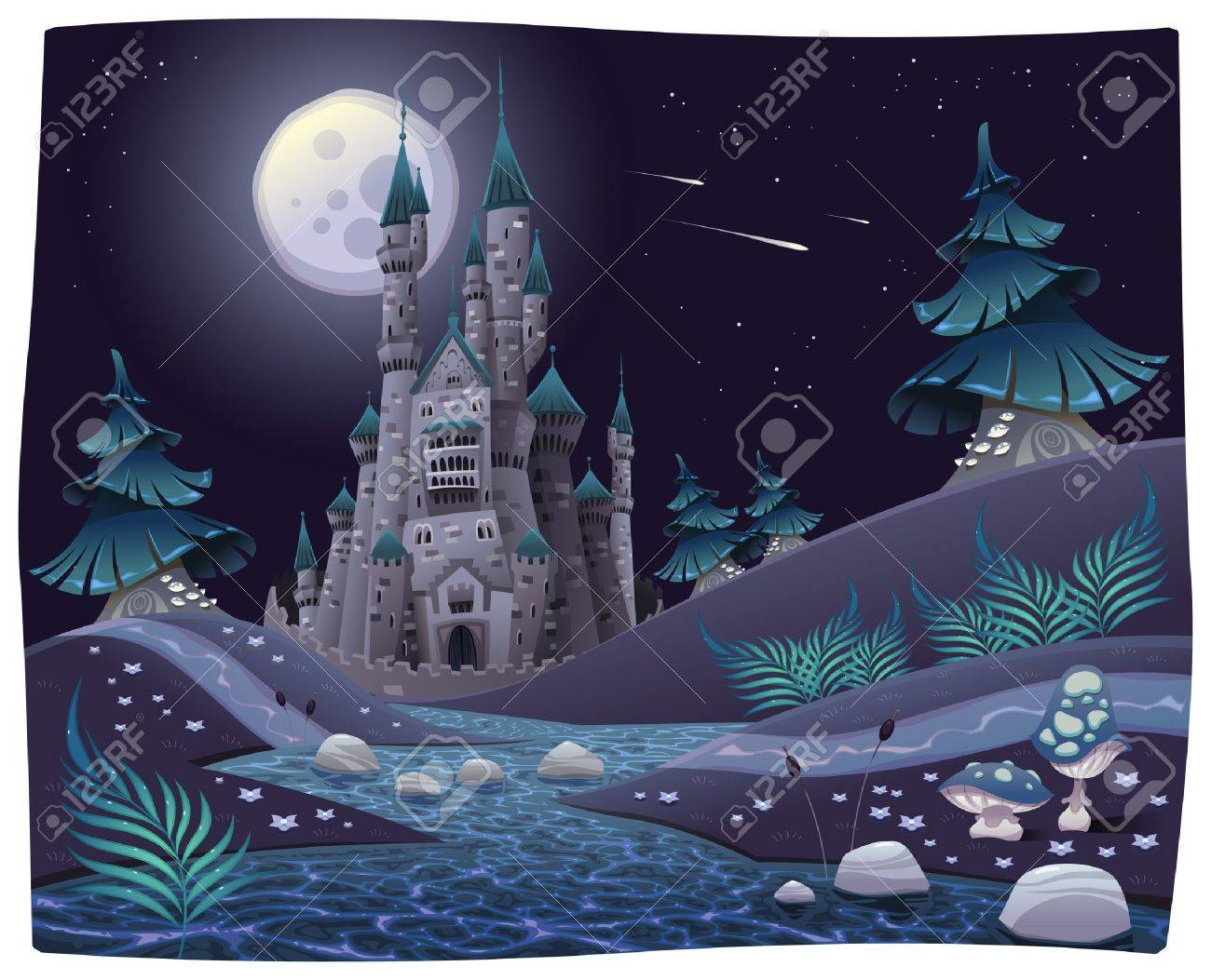 Nightly panorama with castle. Cartoon and vector illustration. Stock Vector - 16592167