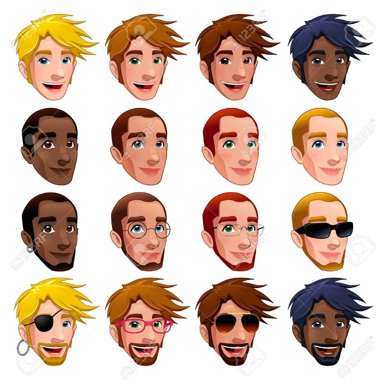 Male faces, isolated characters. Glasses, sunglasses and earrings are isolated and interchangeable. Stock Vector - 16596494