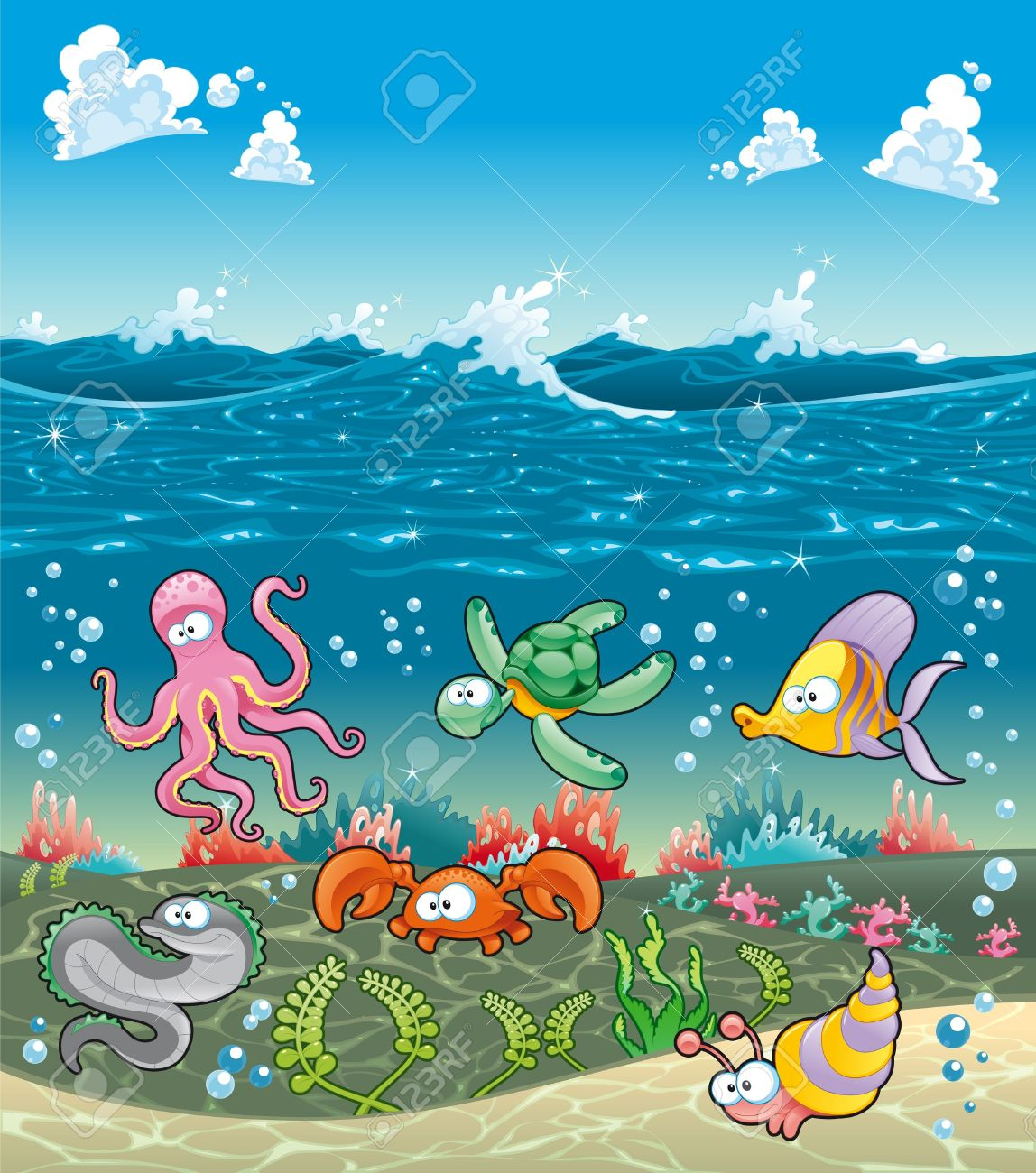 Family of marine animals under the sea. Funny cartoon and vector illustration Stock Vector - 16879280