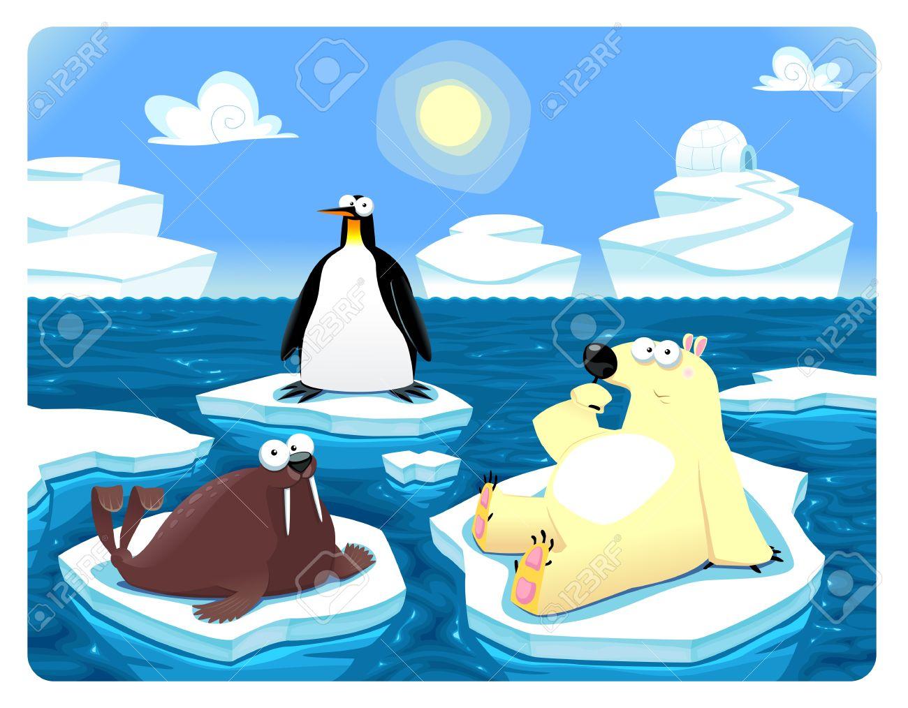 Polar scene. Stock Vector - 17048476
