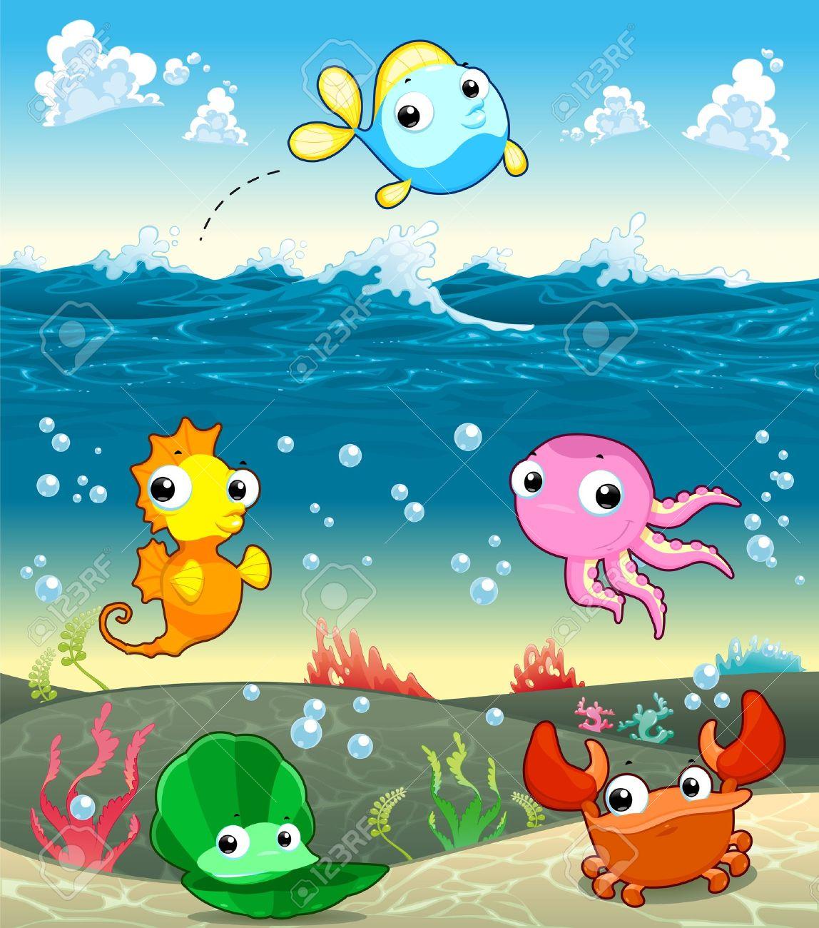 Funny marine family in the sea. Vector and cartoon illustration Stock Vector - 17388264