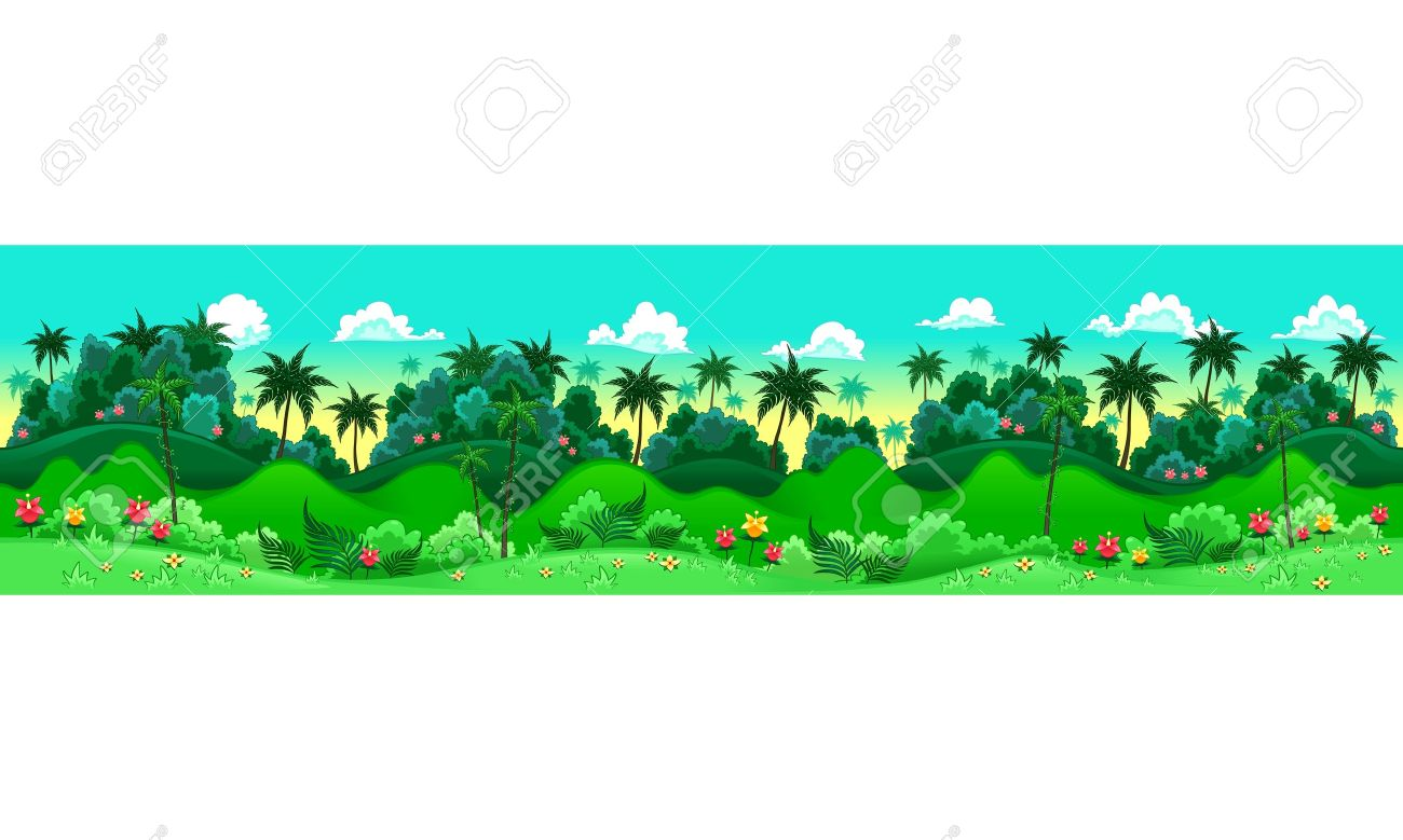 Green forest. Vector illustration with measures: 6144x1536 pixels, adaptable to iPad screen. The sides repeat seamlessly for a possible, continuous animation. Stock Vector - 17429299