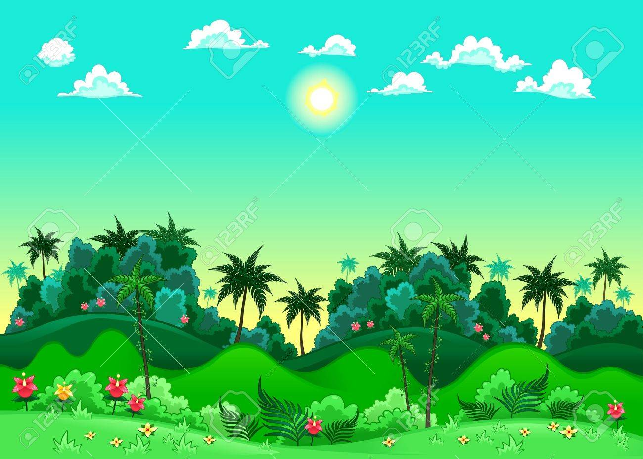 Green forest. Vector illustration. The sides repeat seamlessly for a possible, continuous animation. Stock Vector - 17429297