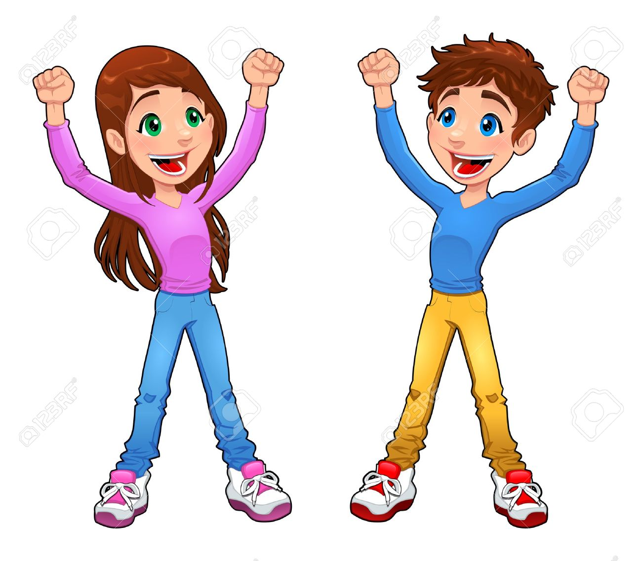 Enthusiast boy and girl. Cartoon and vector isolated character Stock Vector - 17542403