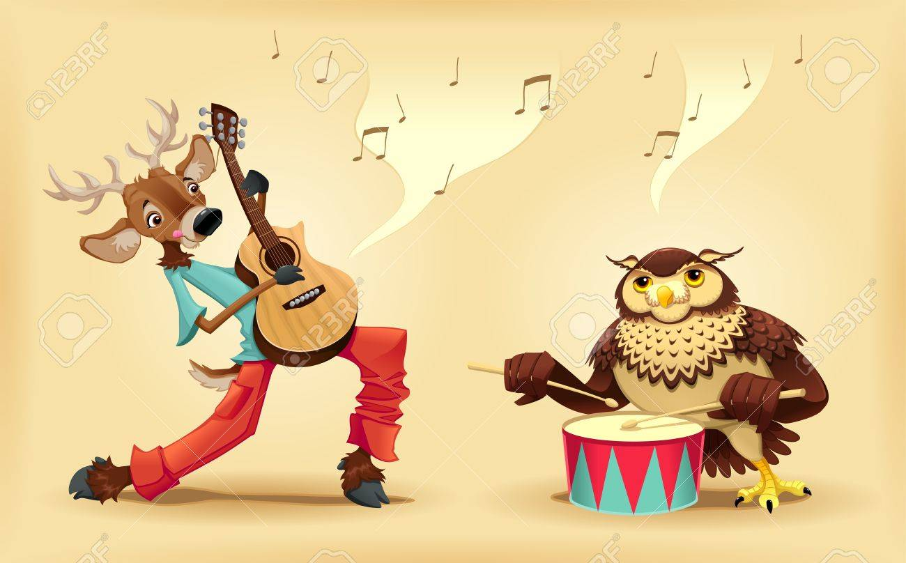 Musicians animals. Cartoon and isolated characters. Stock Vector - 17745189