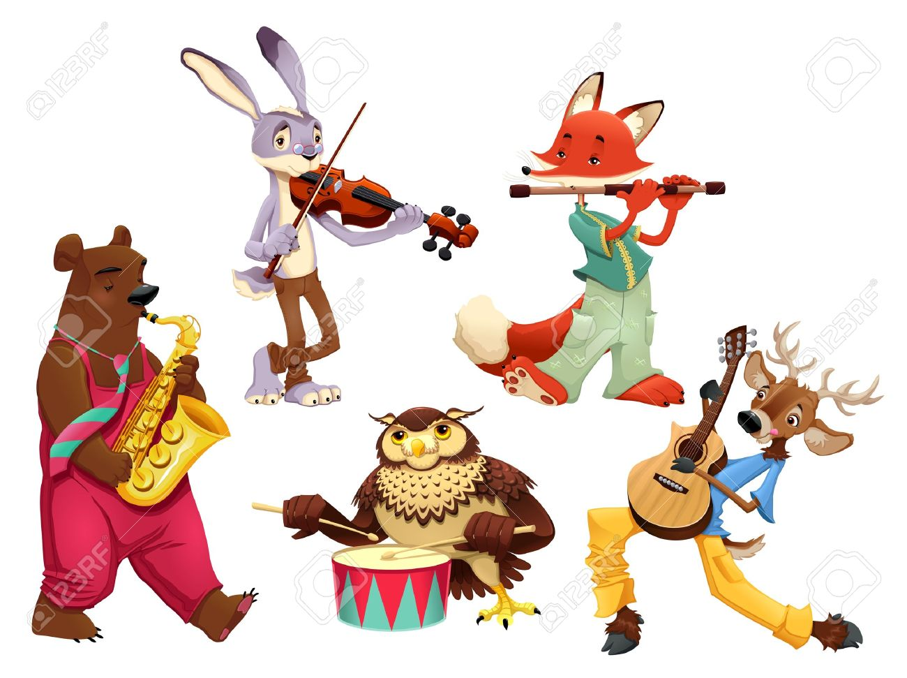 Musician animals. Cartoon and isolated characters. Stock Vector - 17745254