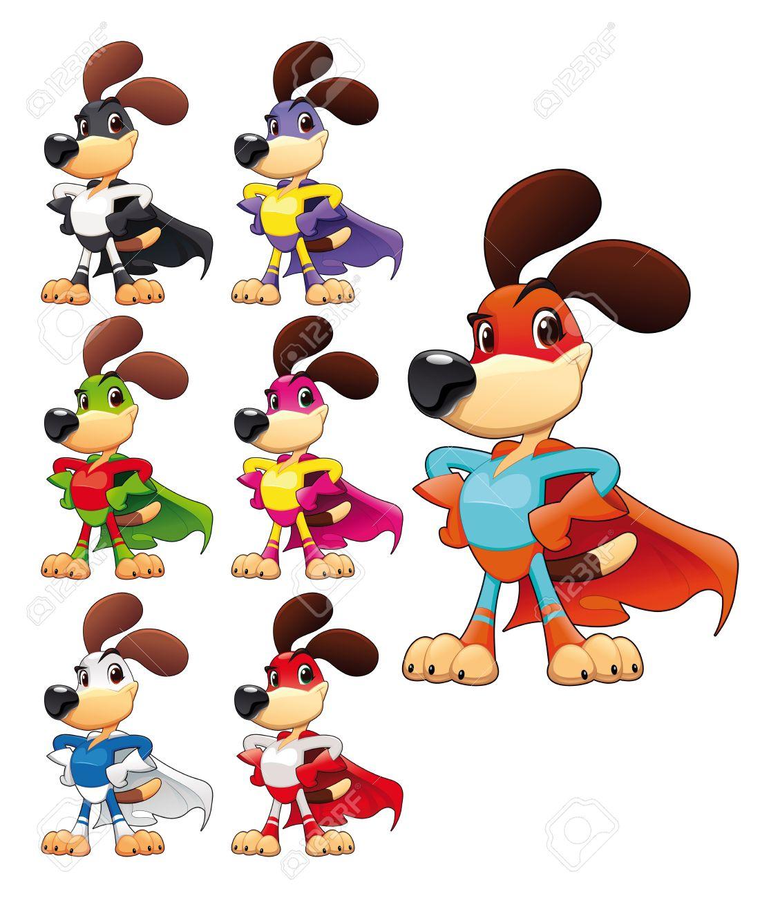 Funny dog super hero. Vector cartoon isolated characters Stock Vector - 17905715