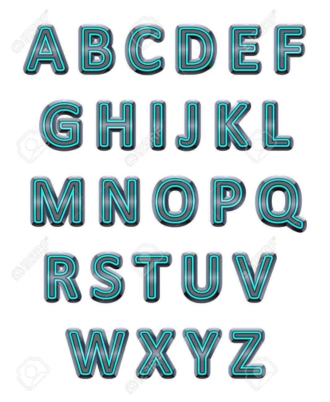 Metallic alphabet. Vector isolated letters. Stock Vector - 17905718