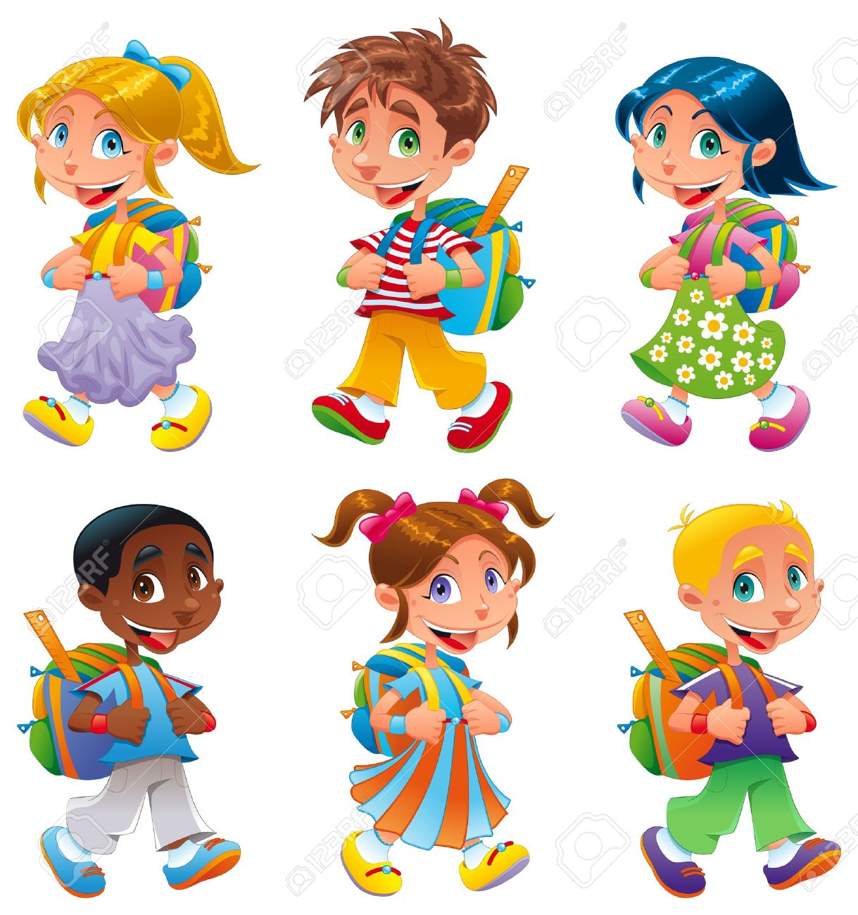 Boys and girls go to school. Funny cartoon and vector characters Stock Vector - 18056674