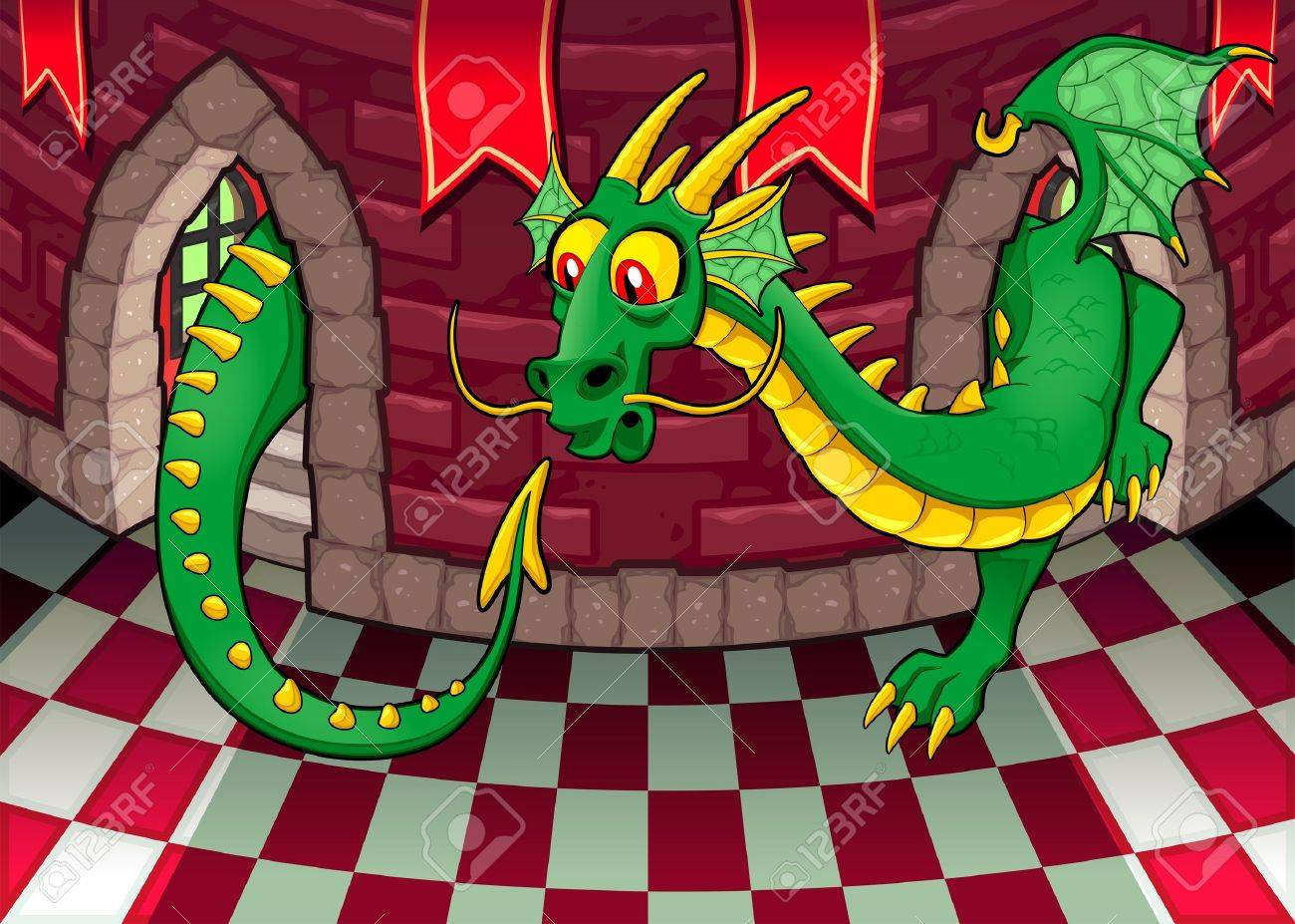 Inside the castle with dragon. Cartoon and vector illustration. Stock Vector - 19504490