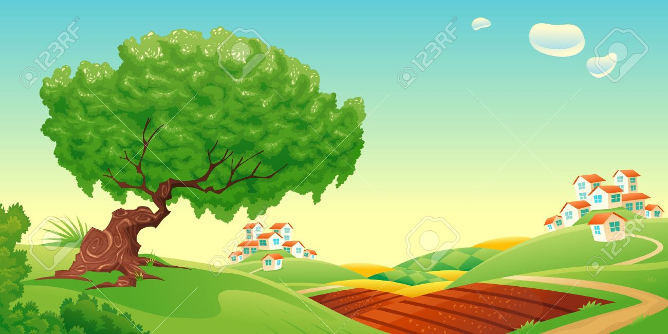 Countryside Vector And Cartoon Landscape Royalty Free Cliparts