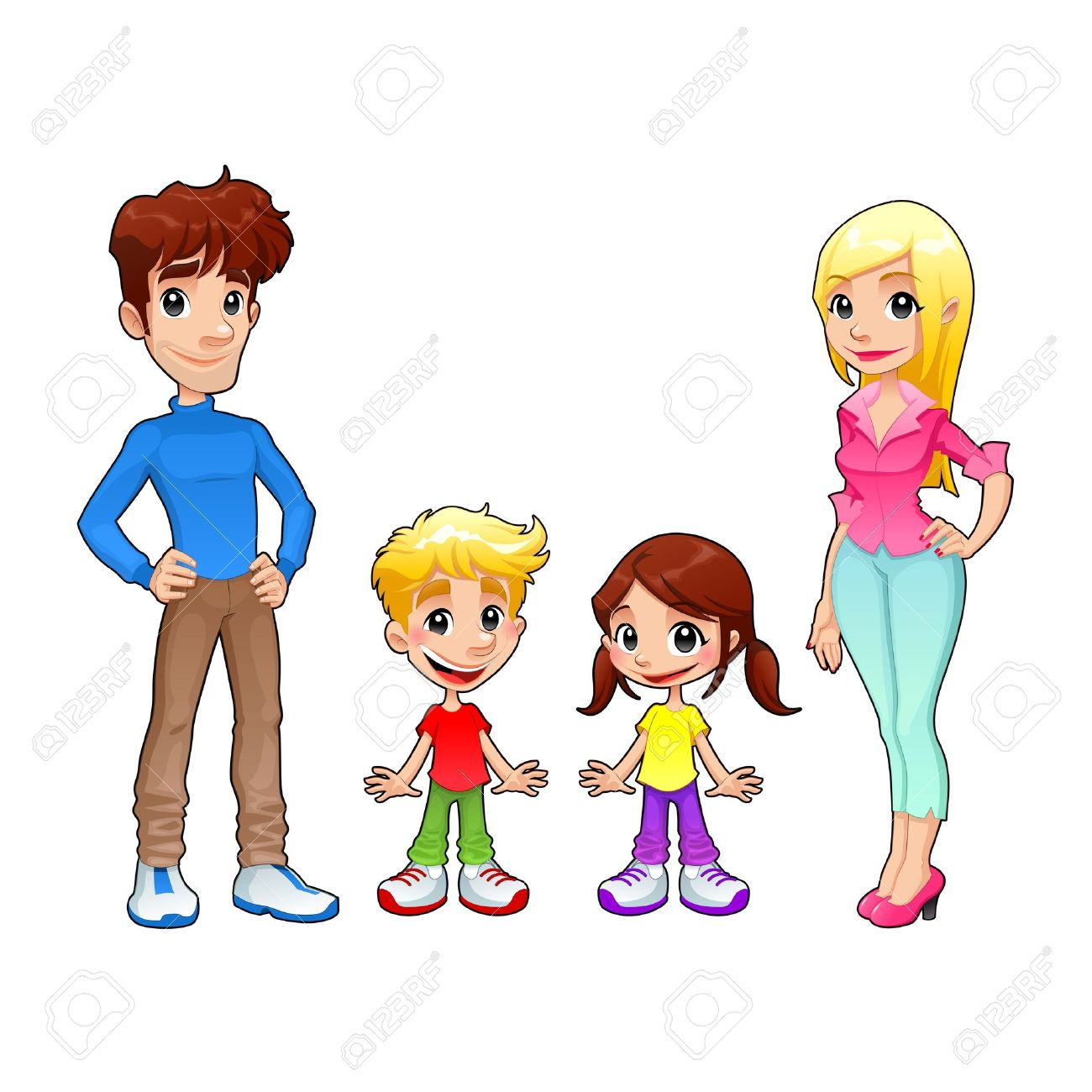 Funny family  Cartoon and isolated vector characters