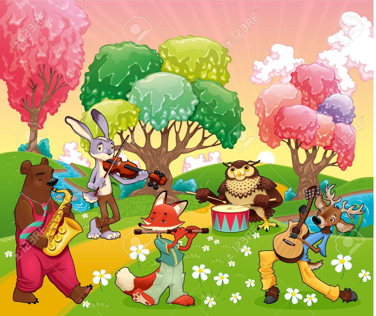 ベクターファンタジー風景でミュージシャンの動物漫画とベクトル