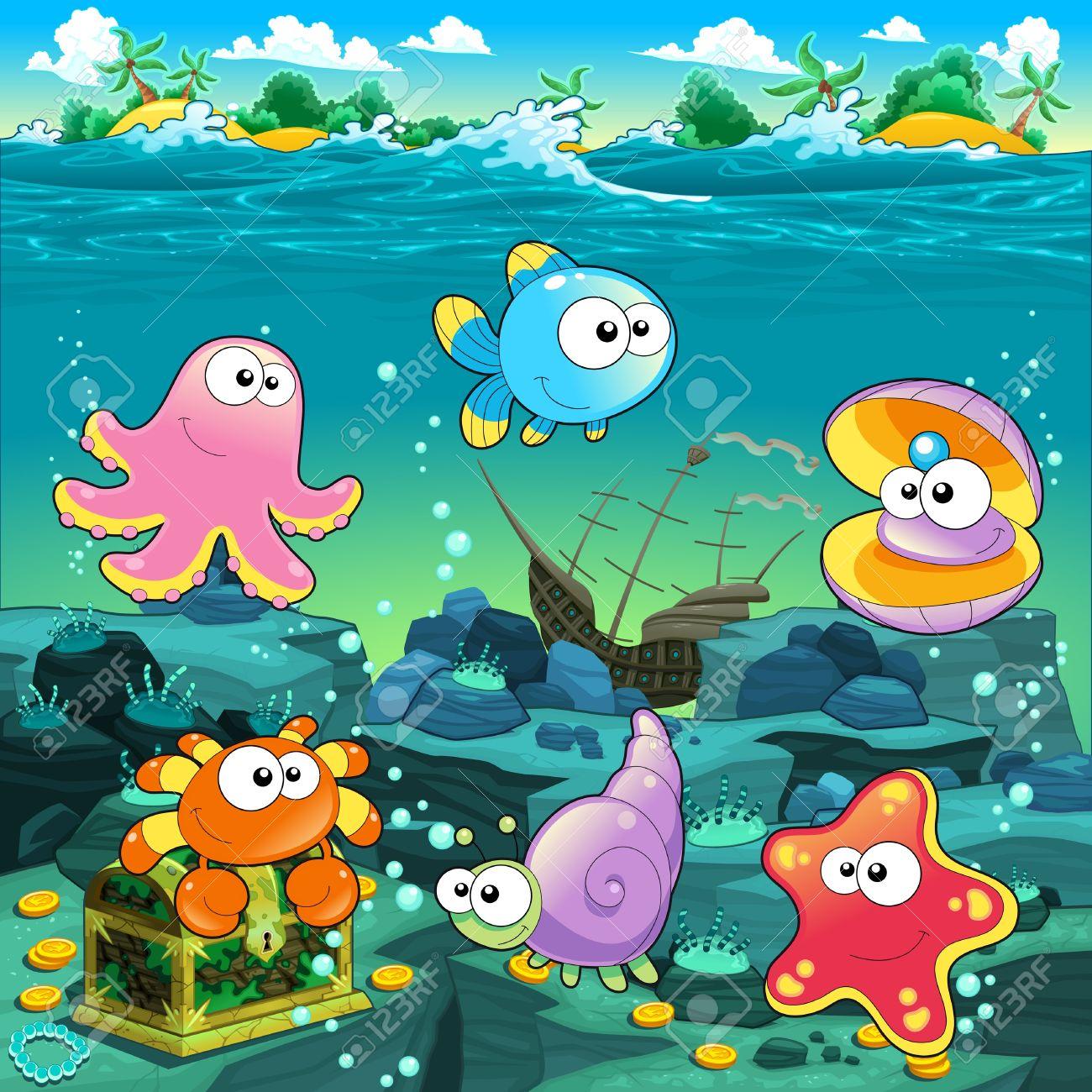 Seascape with treasure, galleon and fish. Vector cartoon illustration Stock Vector - 21743338