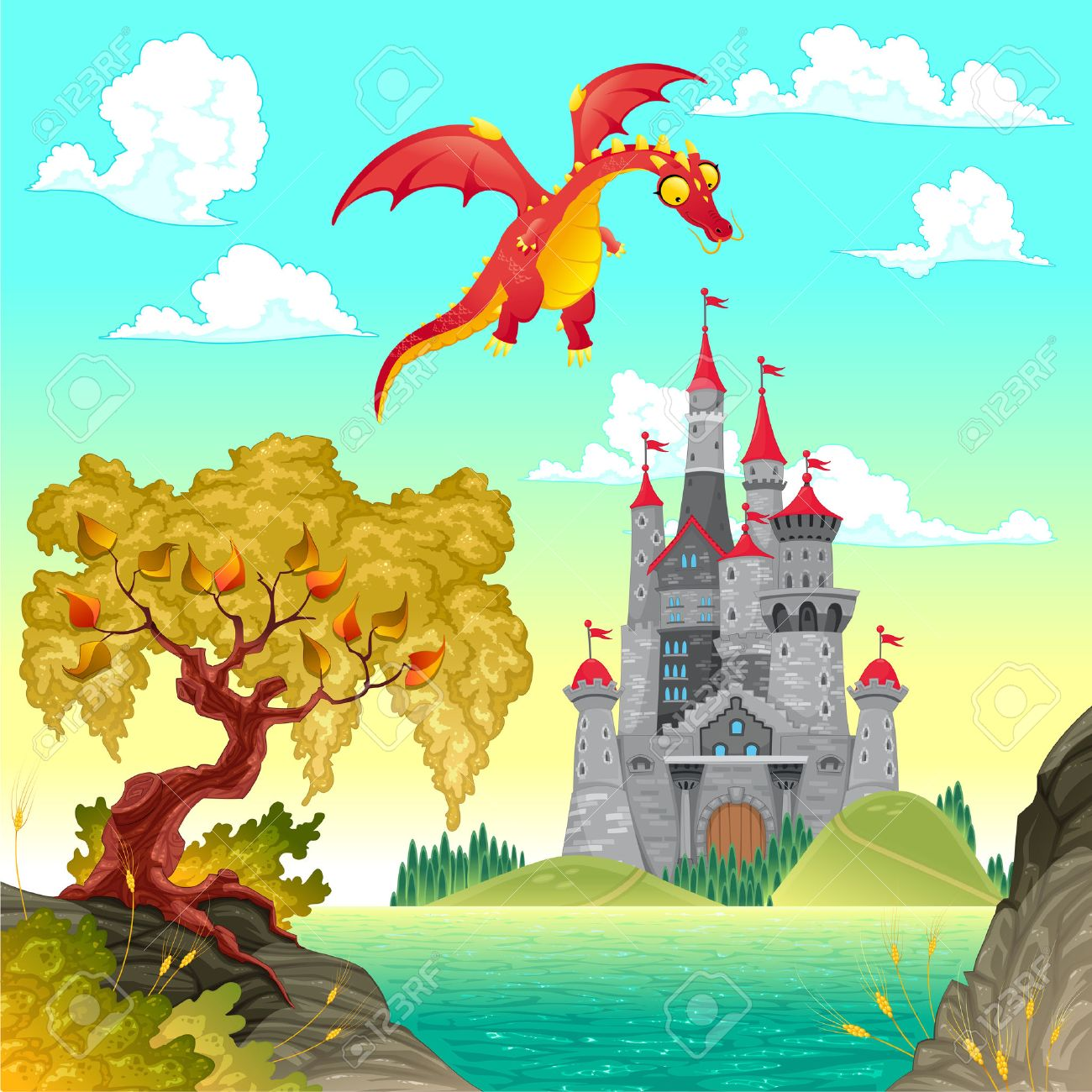 Fantasy landscape with castle and dragon. Vector illustration. Stock Vector - 23039748