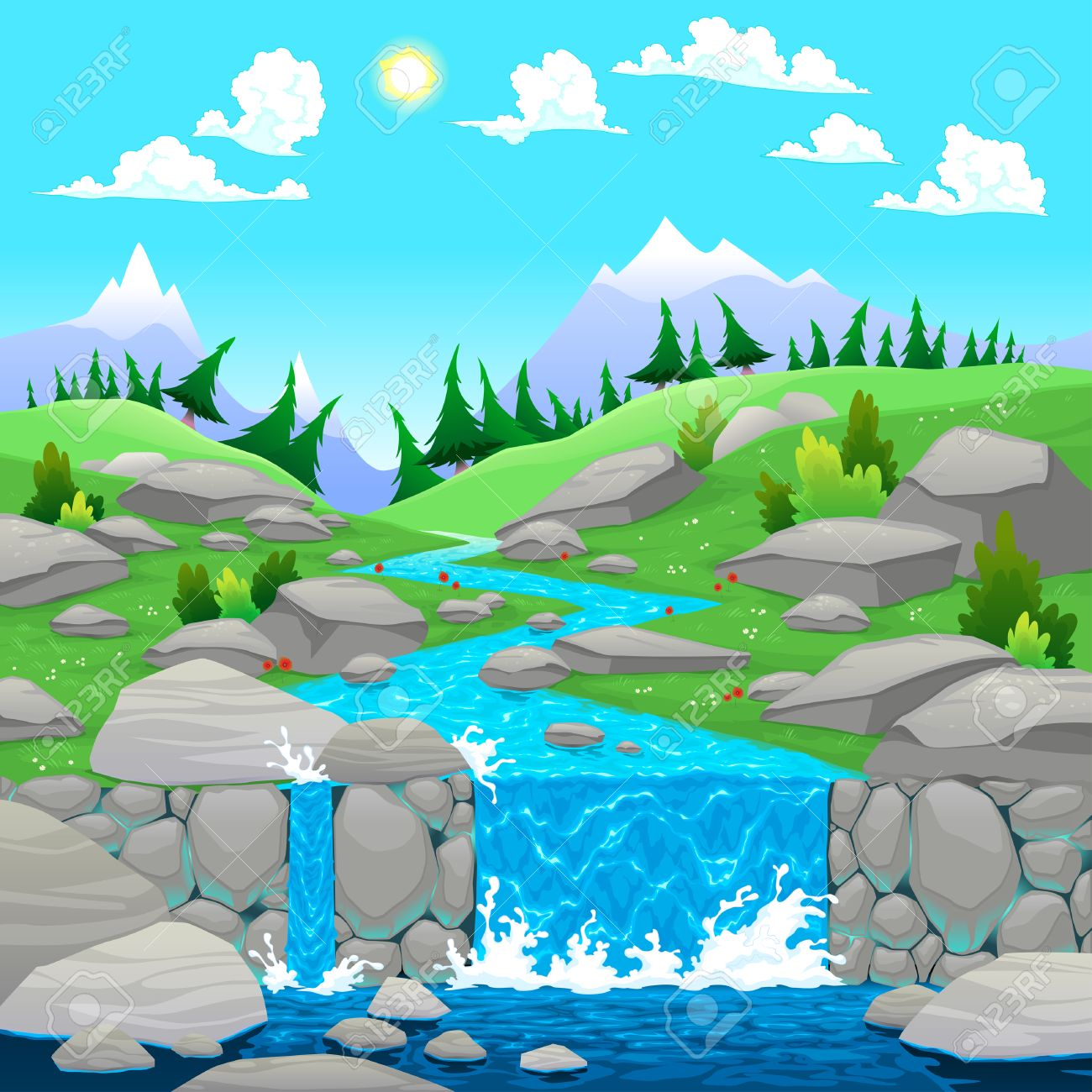 Mountain landscape with river. Cartoon and vector illustration - 23039753