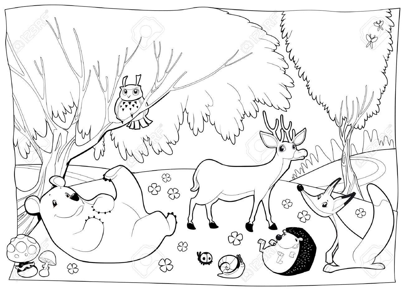 Animals In The Wood Black And White Royalty Free Cliparts Vectors And Stock Illustration Image 25316161