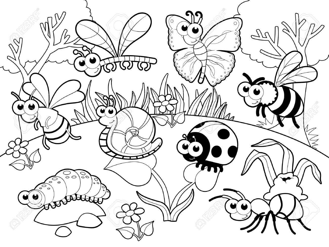 Contemporáneo Páginas Para Colorear Insectos Para Niños Pequeños ...