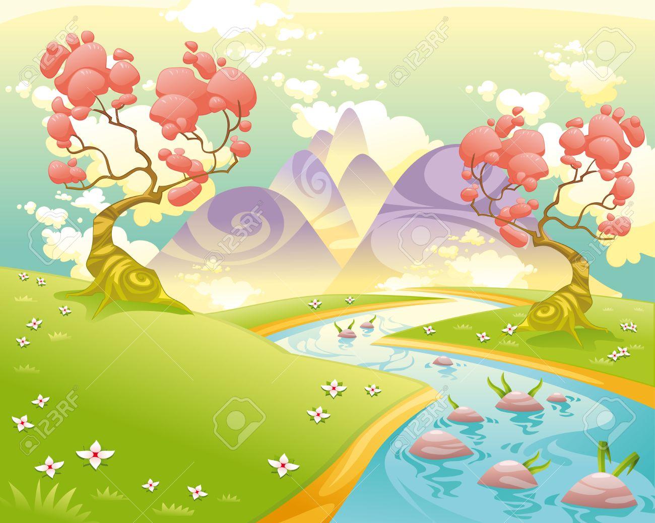 Paysage Mythologique Avec La Riviere Dessin Anime Et Illustration Vectorielle Clip Art Libres De Droits Vecteurs Et Illustration Image 27591633