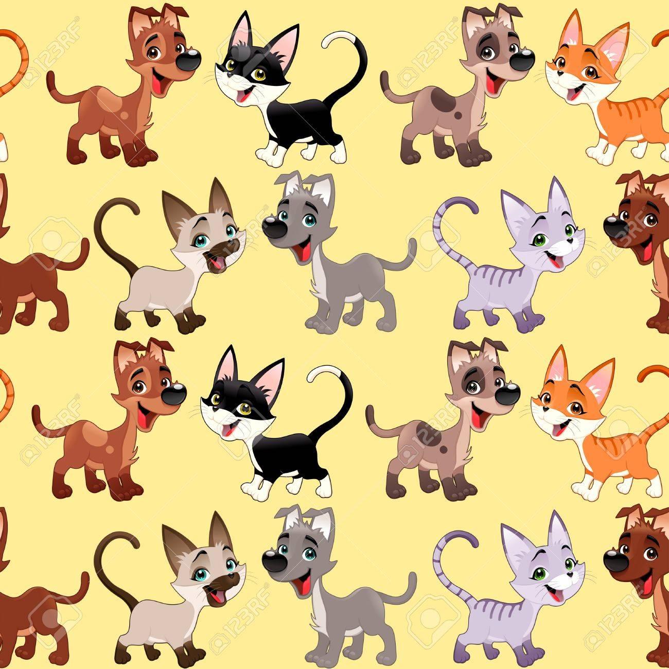 Vettoriale Gatti Divertenti E Cani Con Lo Sfondo I Lati Ripetere