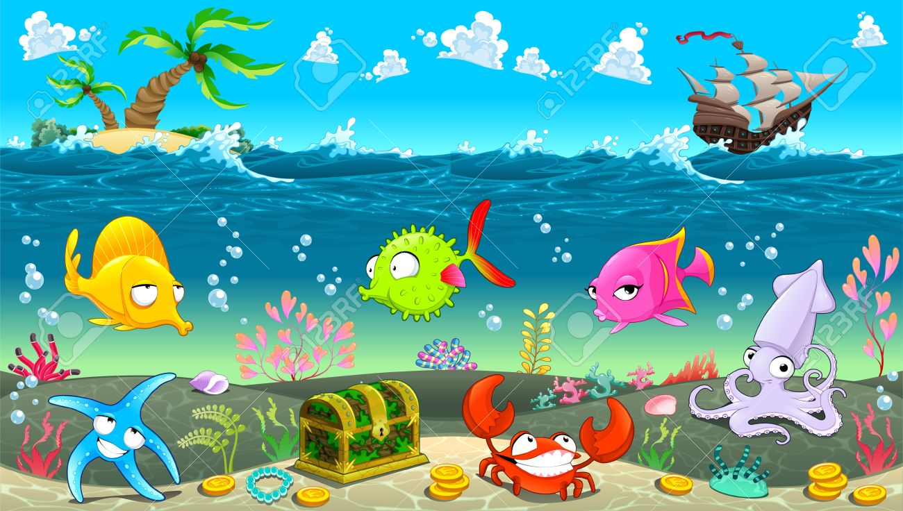 funny scene under the sea vector cartoon illustration royalty free rh 123rf com Cartoon Kitchen Scene cartoon ocean scenery
