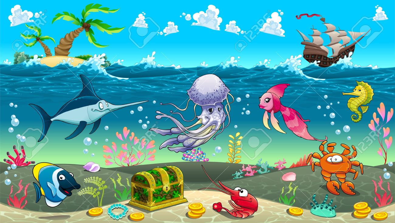 funny scene under the sea vector cartoon illustration royalty free rh 123rf com Cartoon Beach Scene Cartoon Beach Scene