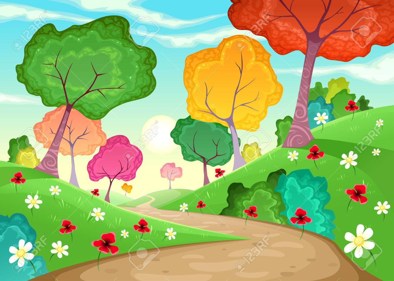 Landscape With Multi-colored Trees. Cartoon And Vector Illustration ...