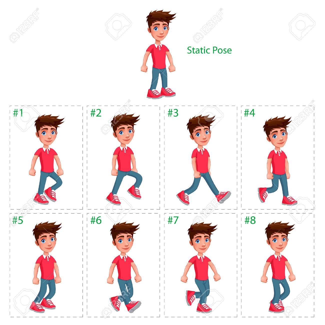 Animation Der Junge Zu Fuß. Acht Gehhilfen + 1 Statische Pose ...