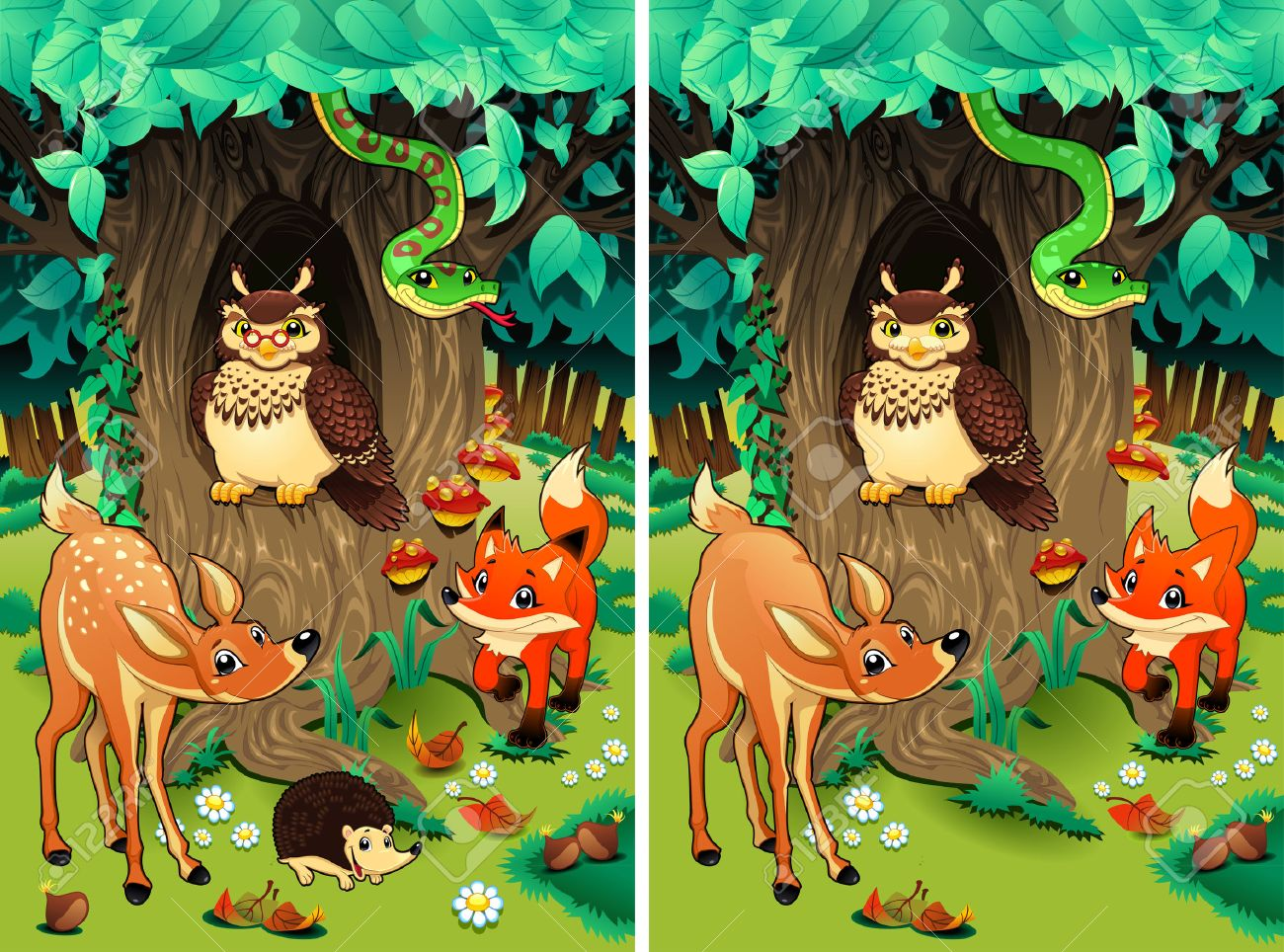 Spot the differences. Two images with ten changes between them, vector and cartoon illustrations - 33319647