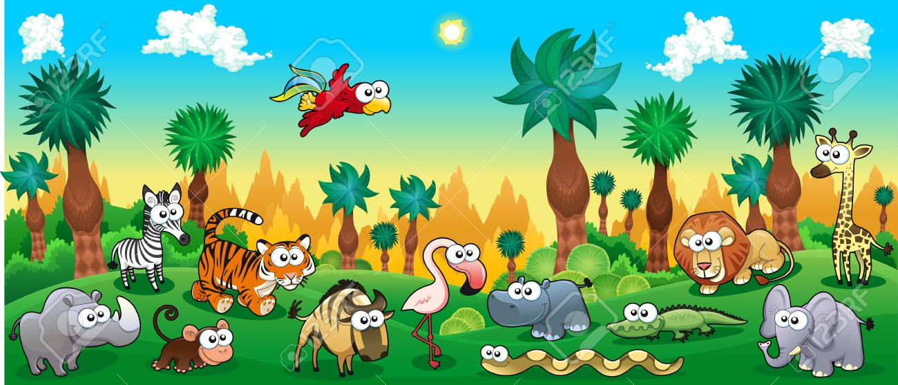 Green forest with funny wild animals. Vector cartoon illustration. - 33770484
