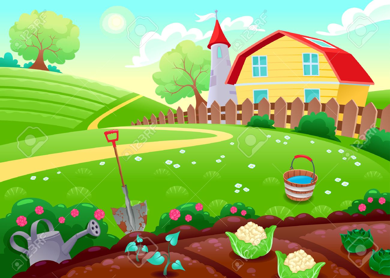 Funny countryside scenery with vegetable garden. Cartoon vector..
