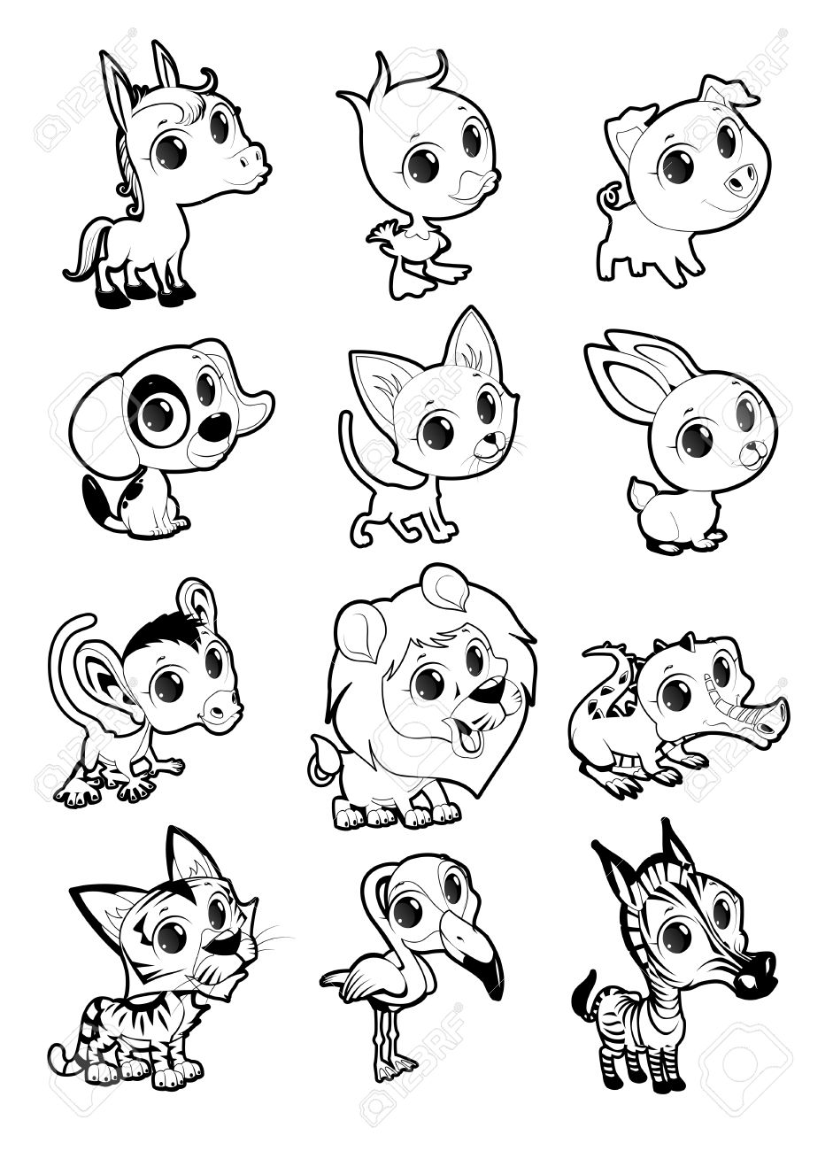 Farm And Wild Animals In Black And White Vector Cartoon Isolated
