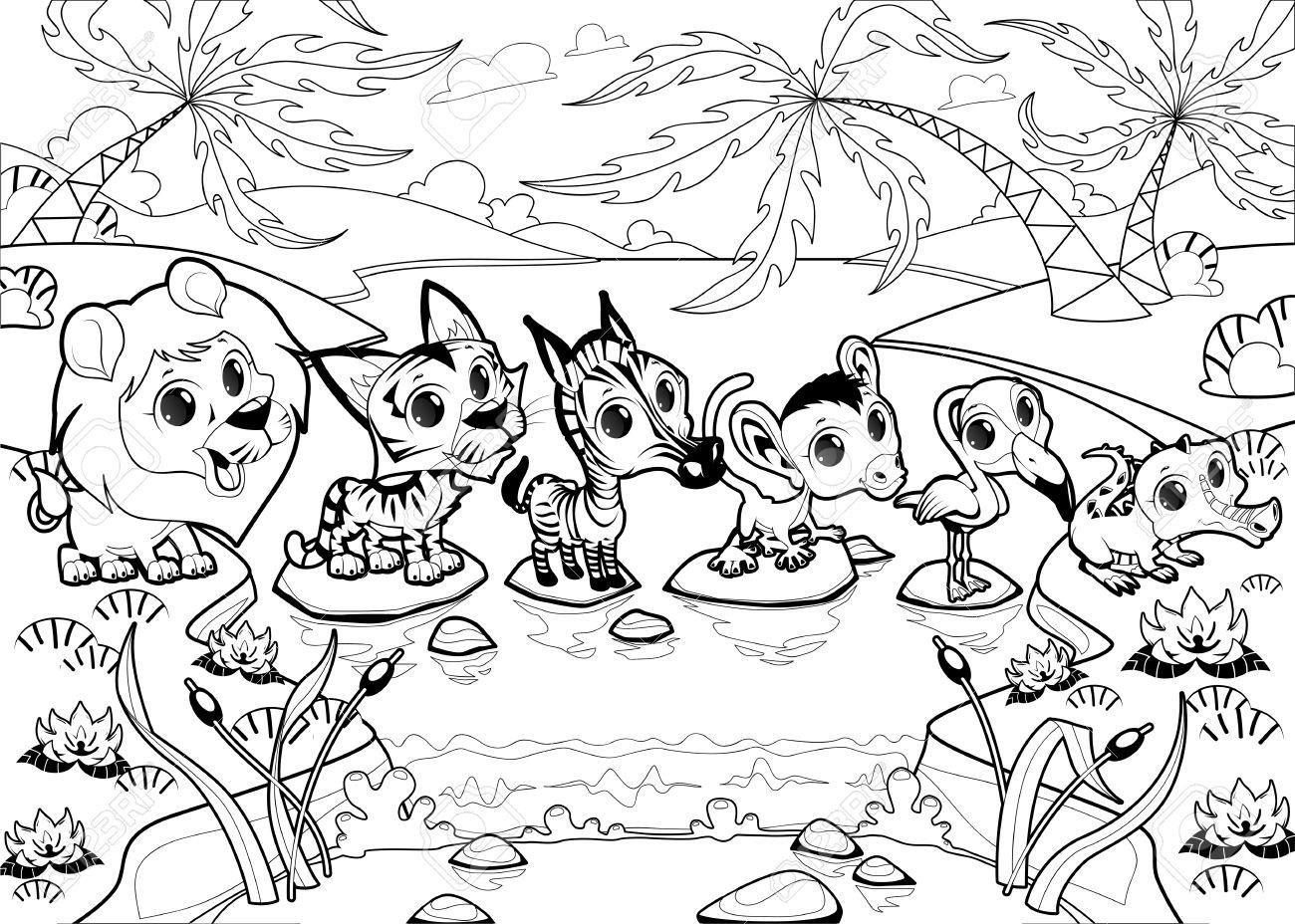 Animales Divertidos En La Selva. Vector Ilustración De Dibujos ...