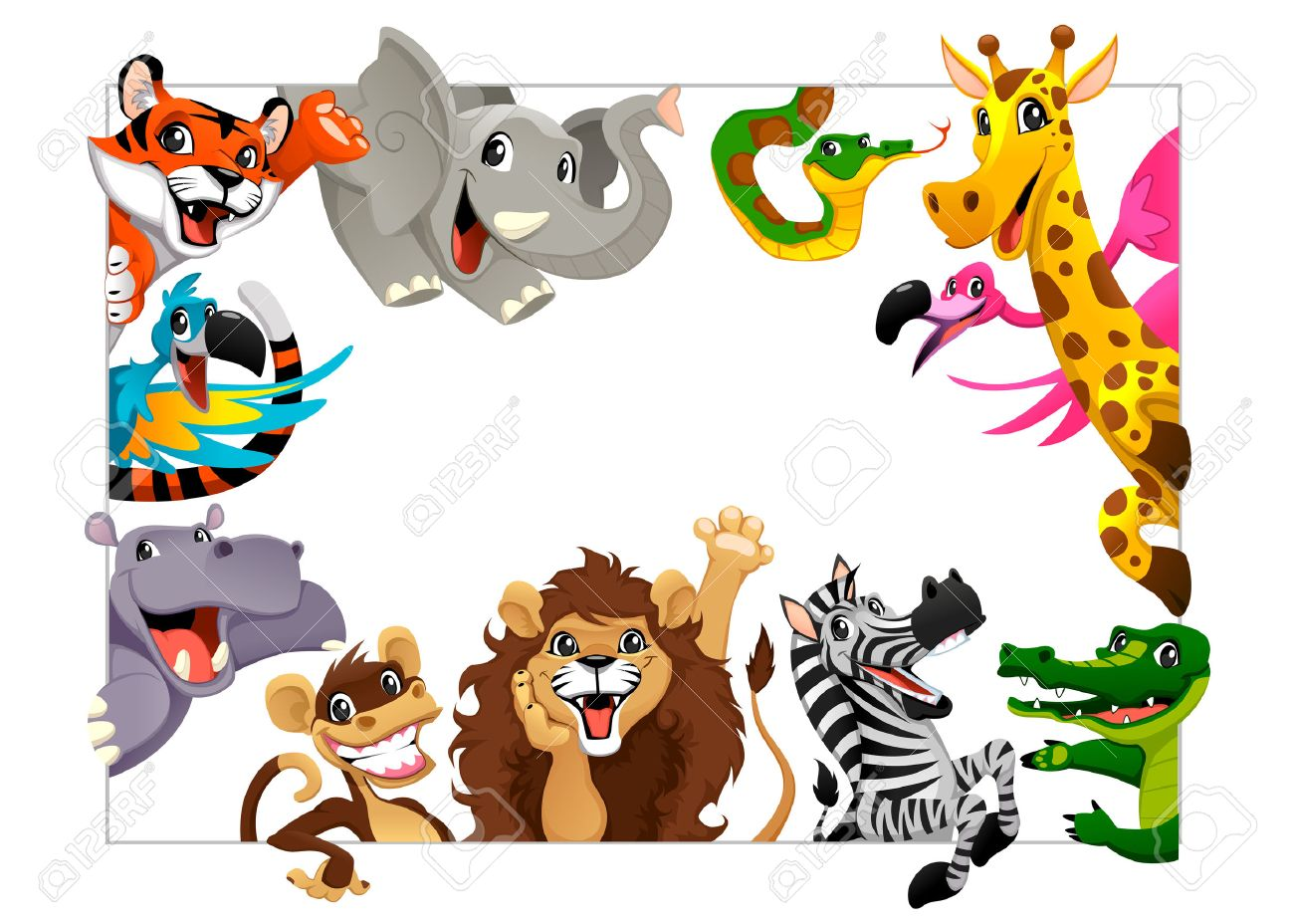Funny group of Jungle animals. Cartoon vector illustration with frame in A4 size, for birthdays and events. - 37038115
