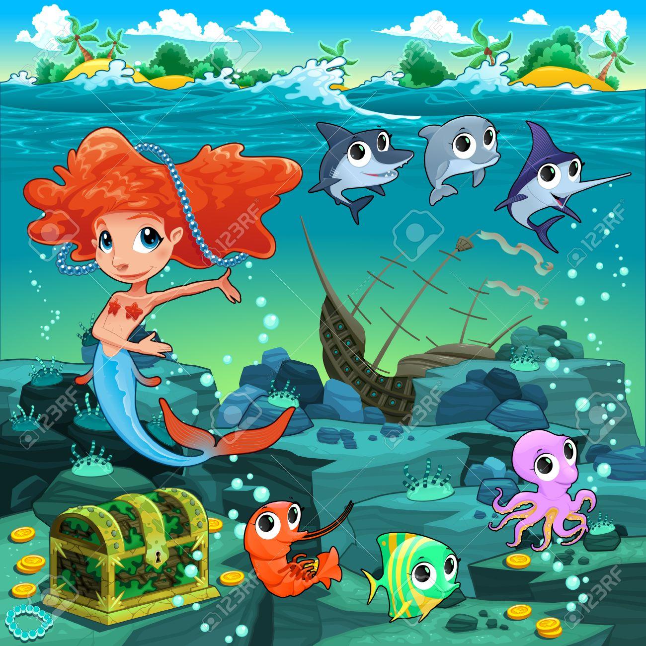 Mermaid with funny animals on the sea floor. Cartoon vector illustration. - 37369171