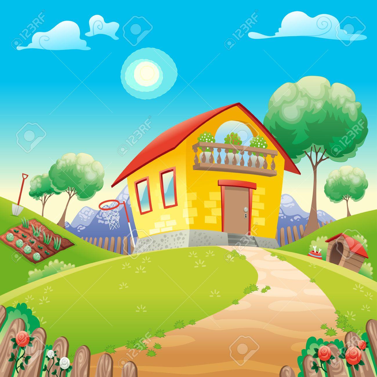 haus mit garten int die landschaft. vector cartoon illustration, Garten ideen