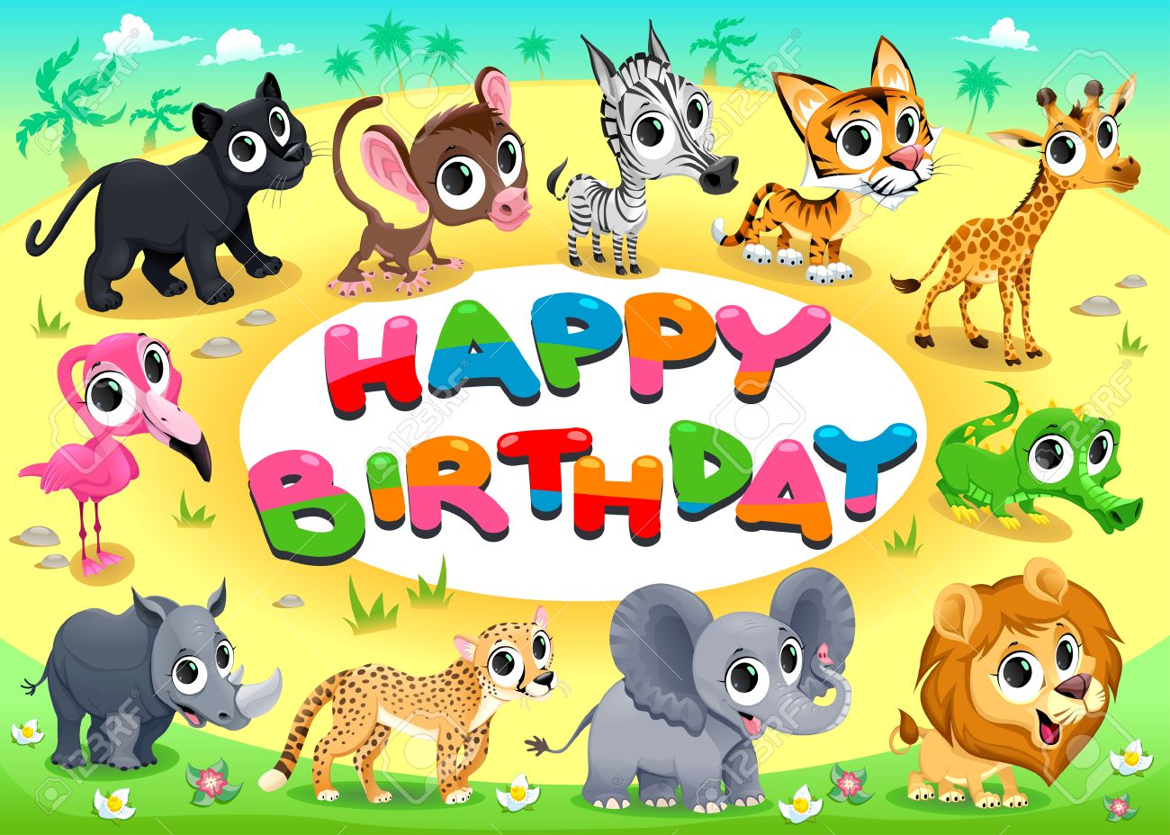 Happy Birthday Card With Jungle Animals Cartoon Vector Illustration Frame In A4 Proportions