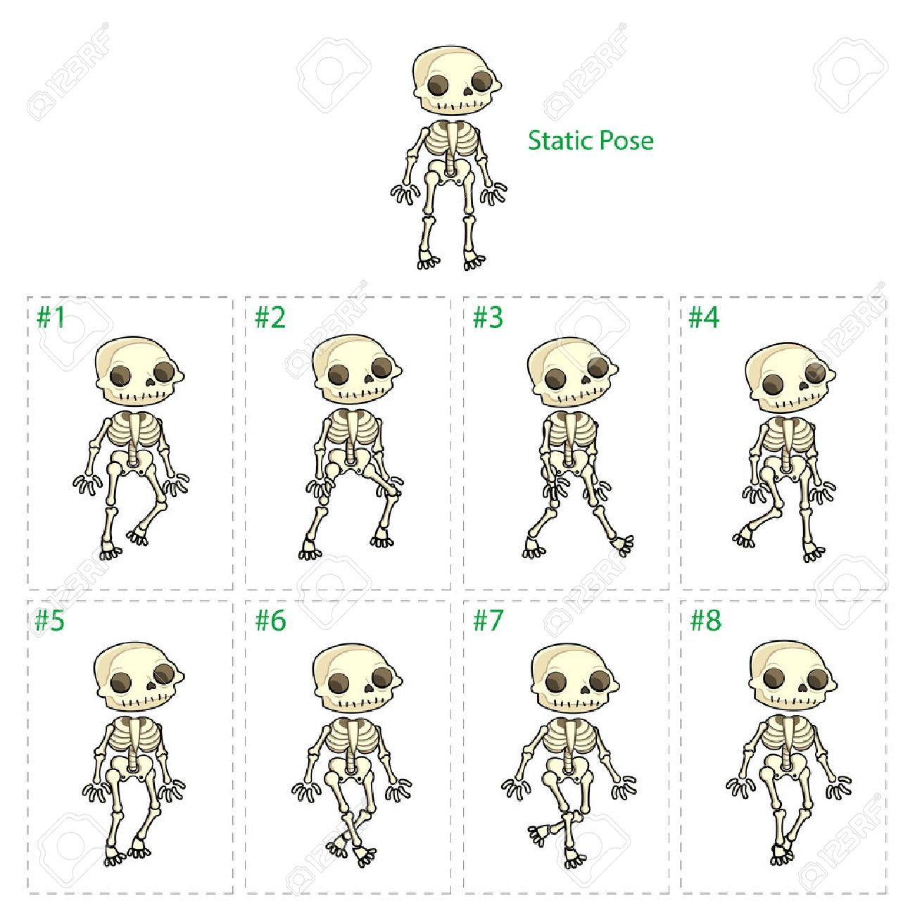Animation Of Skeleton Walking. Eight Walking Frames + 1 Static Pose ...