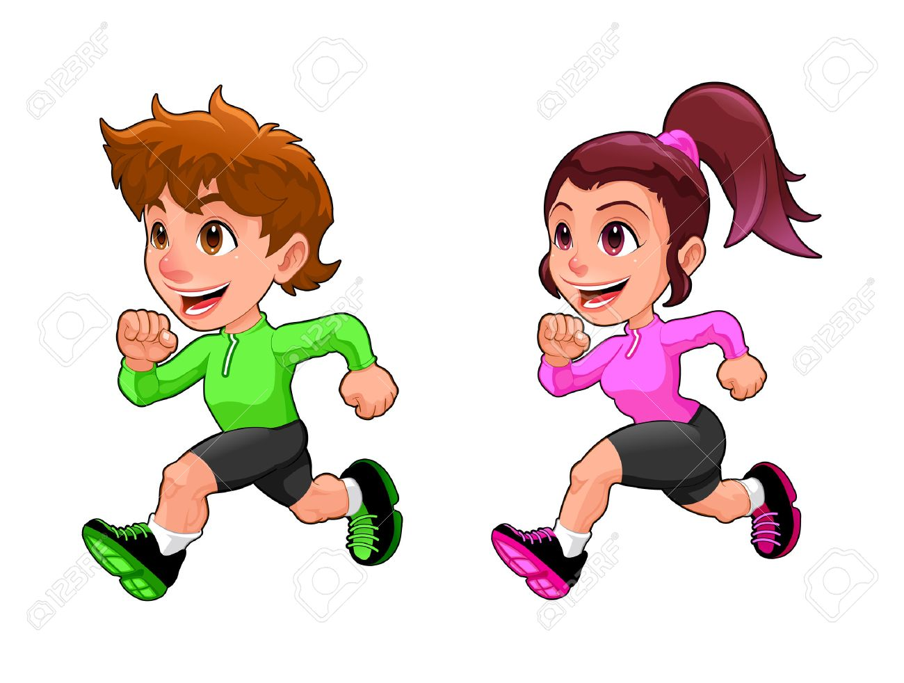 Funny running boy and girl. Cartoon vector isolated character. - 46608547