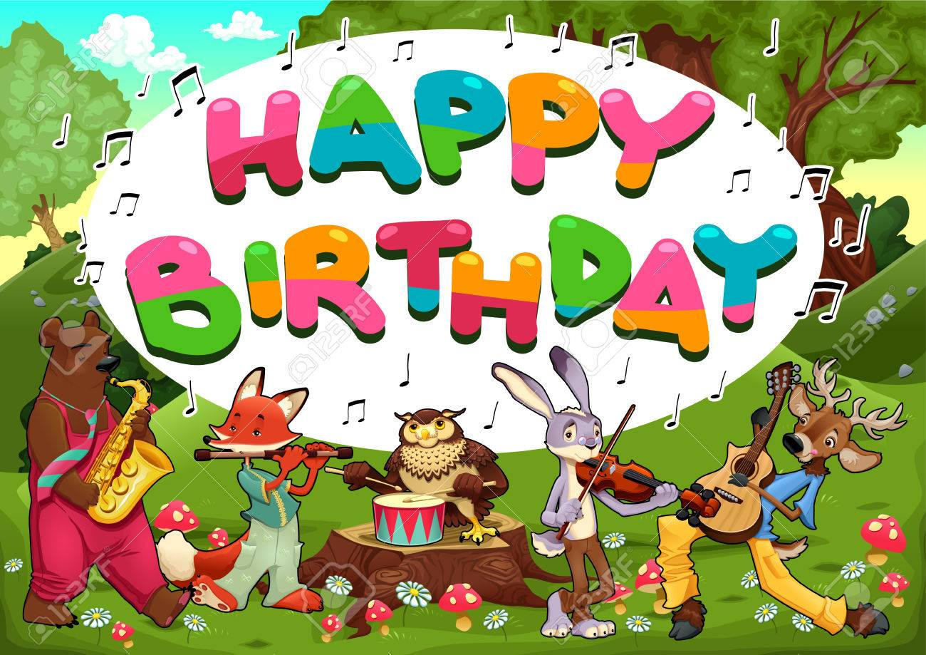 Happy Birthday Card With Funny Musician Animals Vector Cartoon Illustration Stock