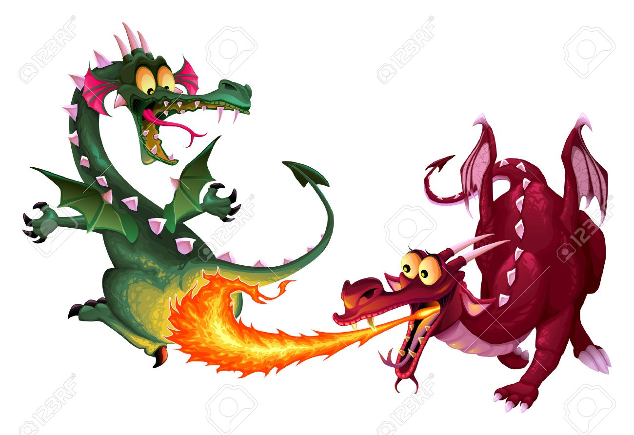 Funny Dragons Are Playing With Fire Cartoon Isolated Characters