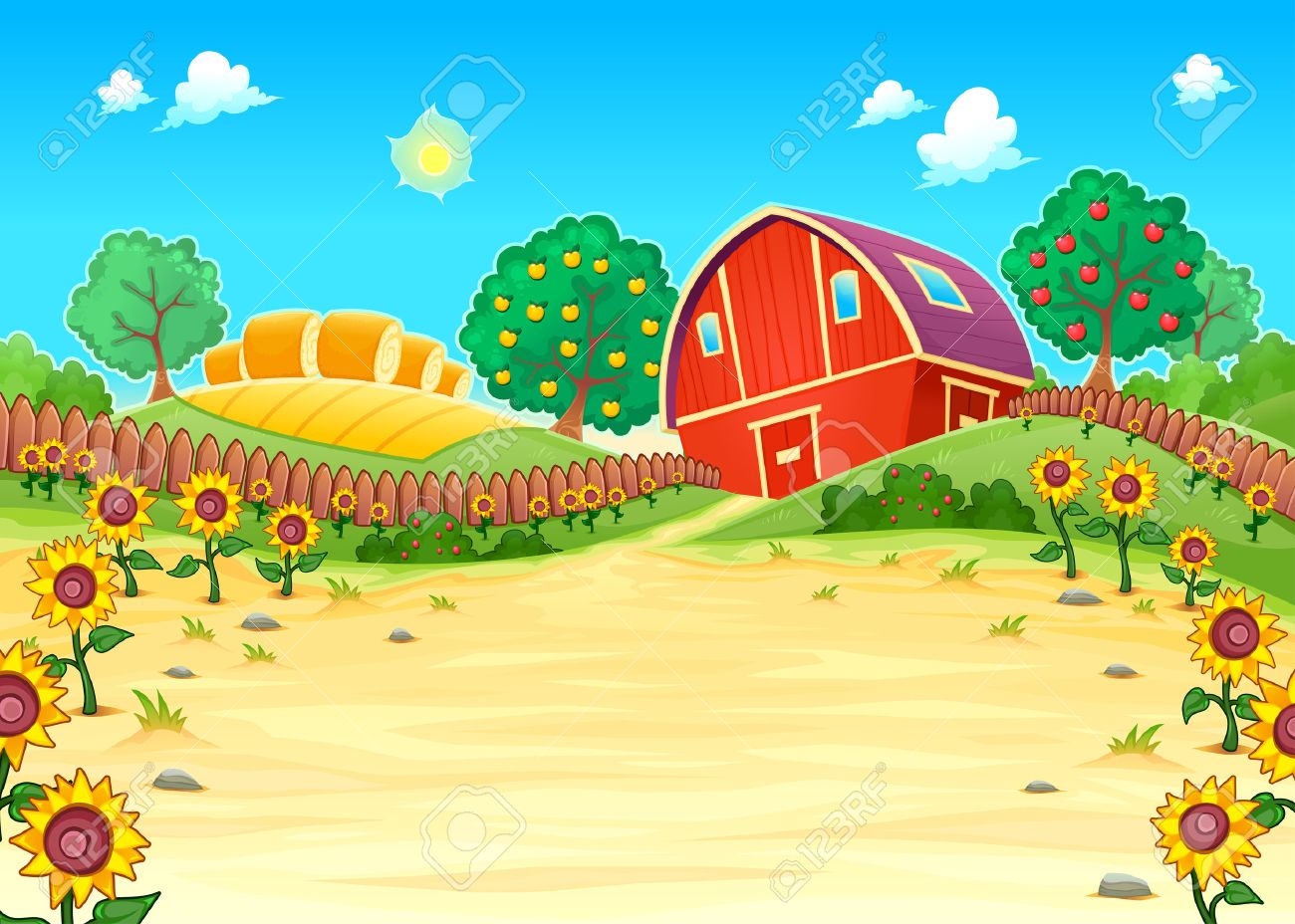 Funny landscape with the farm and sunflowers. Cartoon vector illustration - 52578147