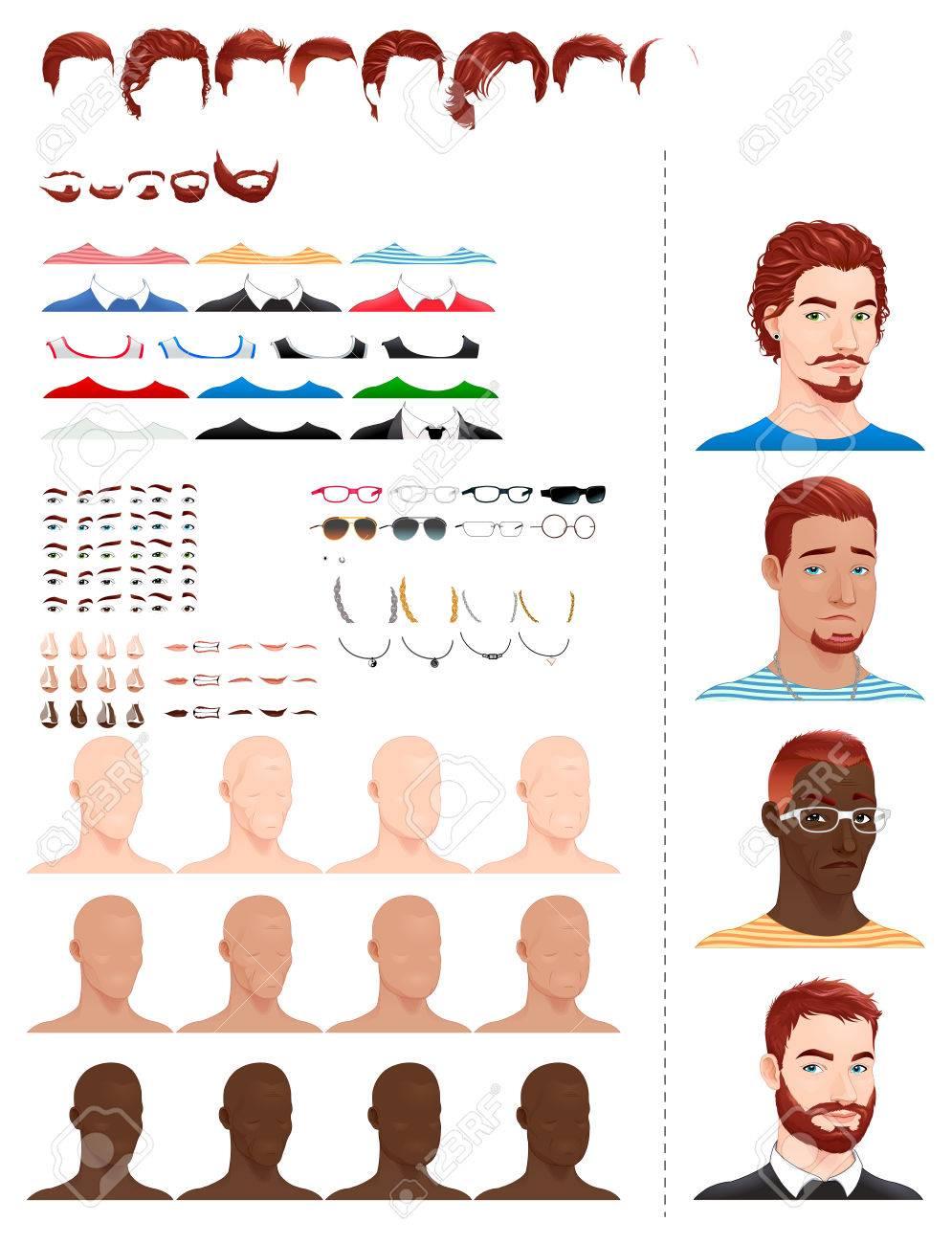Männliche Avatare 8 Frisuren 5 Bärte 3 Augen In 5 Farben