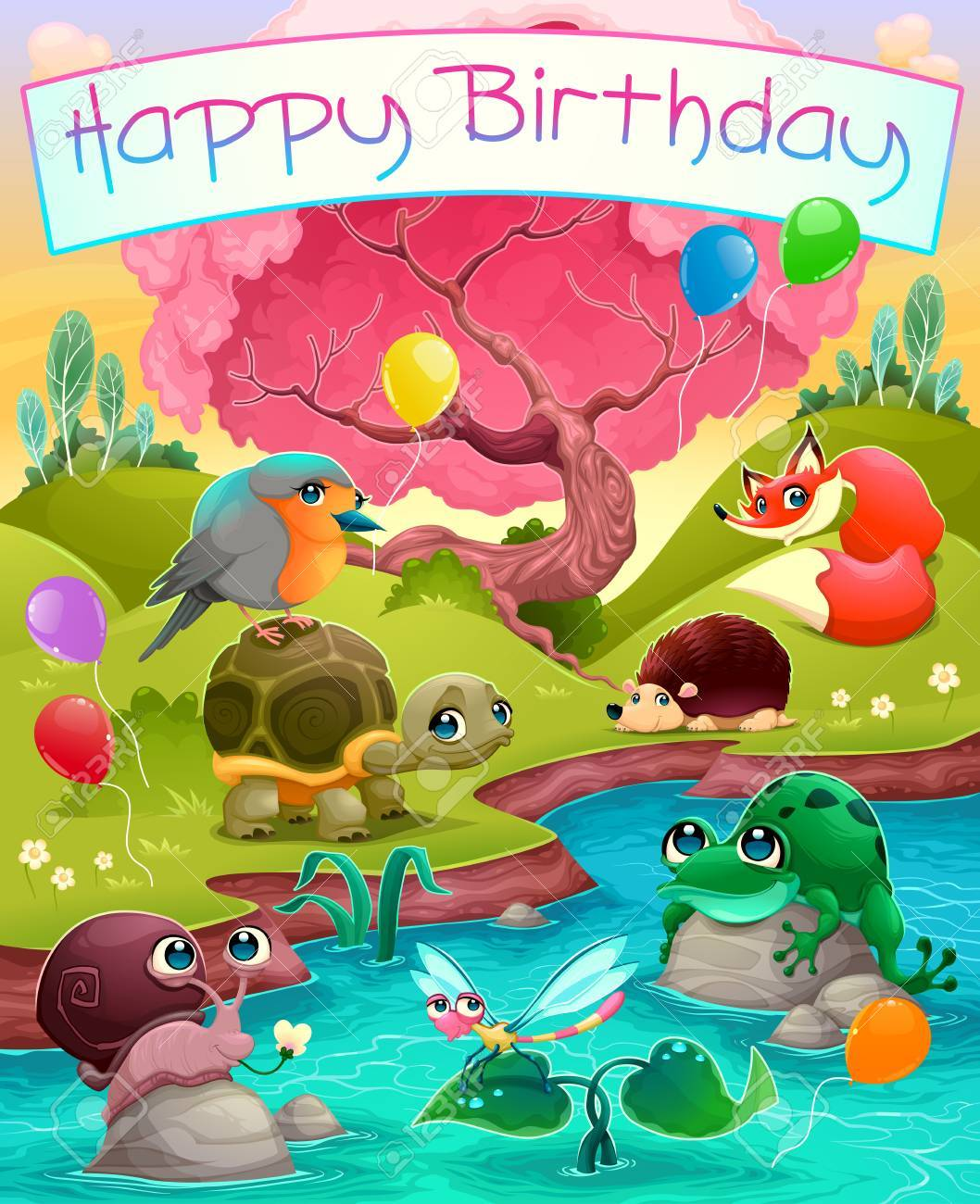 Happy Birthday card with cute animals in the countryside. Vector cartoon illustration - 70767148