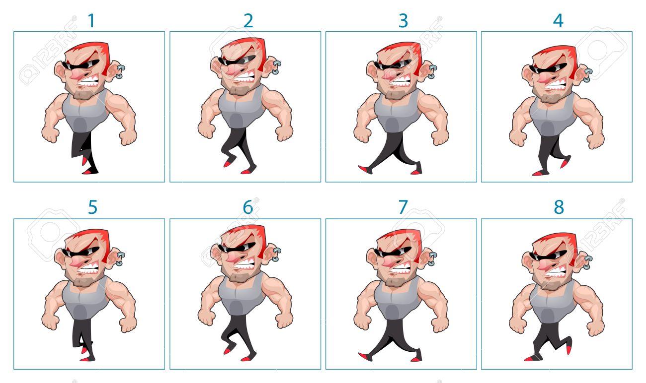 Caminar Animación De Un Personaje De Dibujos Animados Enojado En 8 ...