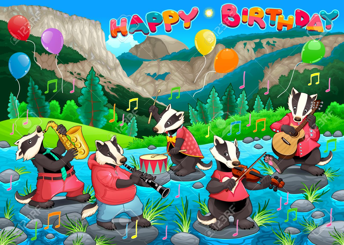 Fine Happy Birthday Card With Funny Badgers Playing Music Vector Personalised Birthday Cards Rectzonderlifede